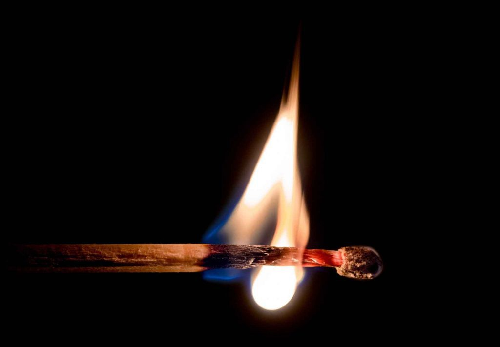 match burning in fire